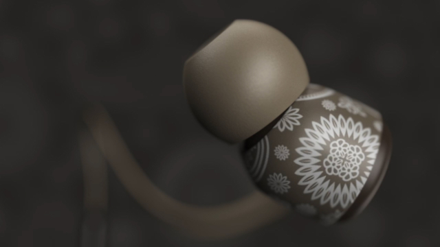 earbuds headphones product 3d rendering visualization