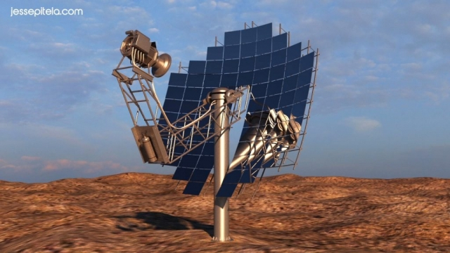 satellite dish Industrial 3D rendering animation technical 3D visualization