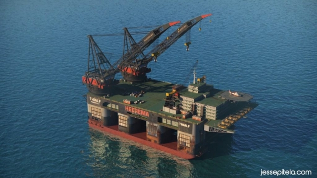 Industrial 3D animation technical 3D visualization Ocean Oil Rig