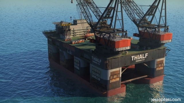 ocean oil rig Industrial 3D animation technical 3D visualization cgi rendering