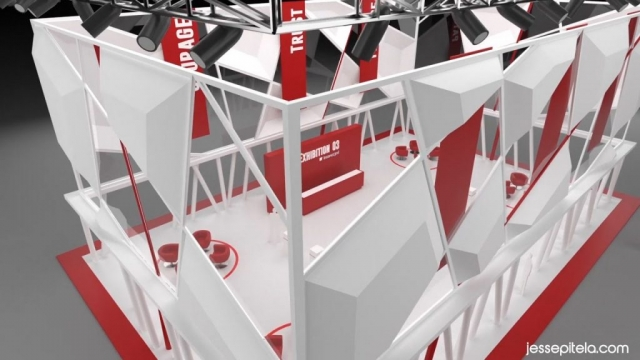 trade show booth 3D visualization rendering. Visual effects. Keyshot.