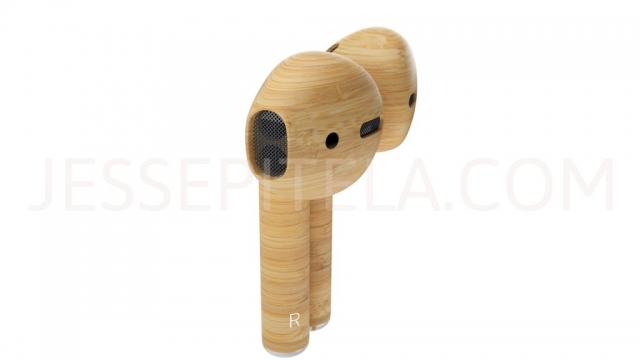 Airpods bamboo wood product rendering 3D
